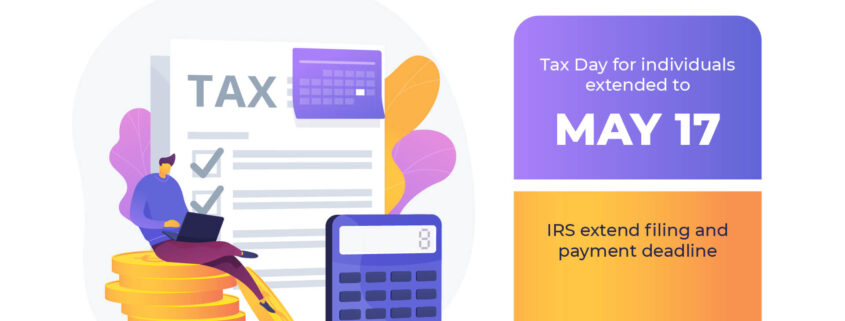 Individual taxpayers can also postpone federal income tax payments for the 2020 tax year due on April 15, 2021, to May 17, 2021, without penalties